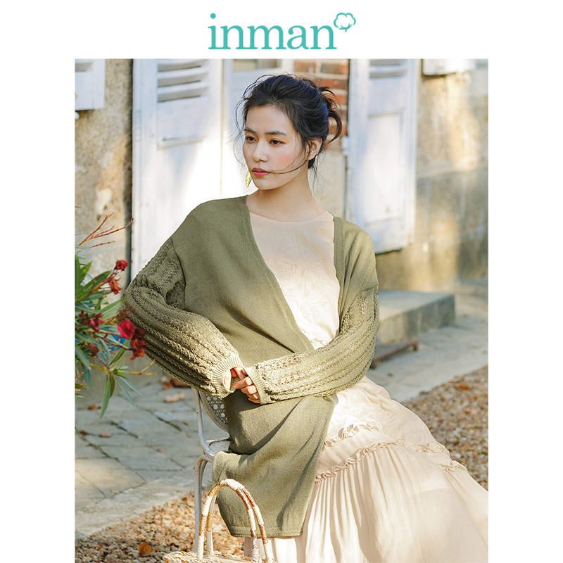 INMAN  Literary Retro Korean Fashion Casual All Matched Slim Women Cardigan