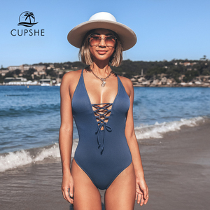 Image 2 - CUPSHE Remind Me Solid One piece Swimsuit Women Backless Deep V neck Lace Up Sexy Bodysuits 2020 Beach Bathing Suit Swimwear