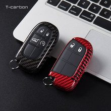 Carbon Fiber Key Case Cover For Jeep Grand Cherokee Renegade Compass Dodge Durago Journey Charger Dart Chrysler 300C For Fiat