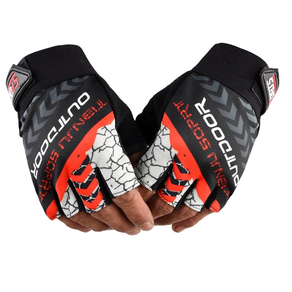 Fingerless Gloves Unisex Women Men Autumn Winter 2019 Fashion Casual Patchwork Letter Printed Outdoor Sports Riding Gloves