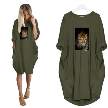 Leopard Animals Print Dress Long Sleeve o Neck Pocket Casual Streetwear Vestidos Female Autumn Loose Plus Size Midi Dresses 2020 new summer dresses women casual short sleeve o neck print a line dress large size streetwear sundress loose dress vestidos