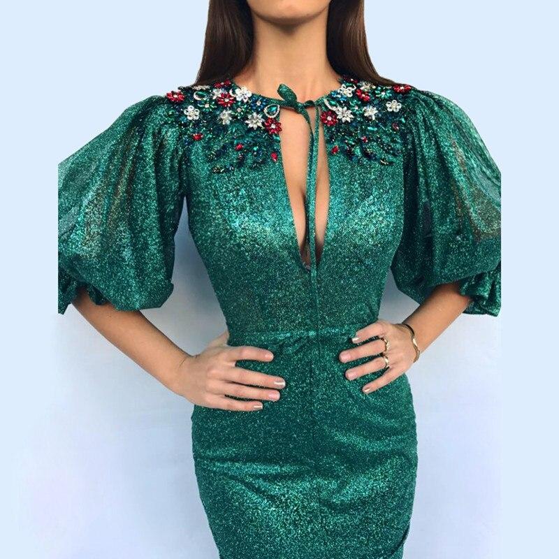 Verde 2019 muçulmano vestidos de noite sereia meia mangas lantejoulas brilho frisado fenda dubai arábia saudita longo noite vestido formatura - 2