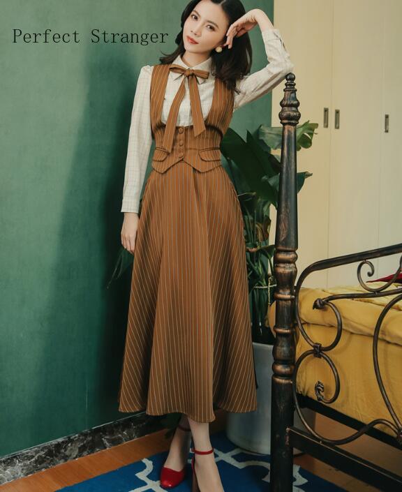 Hot Sale High Quality 2019 Autumn Winter New Arrival Stripe 3 Pieces  Woman Dress Set