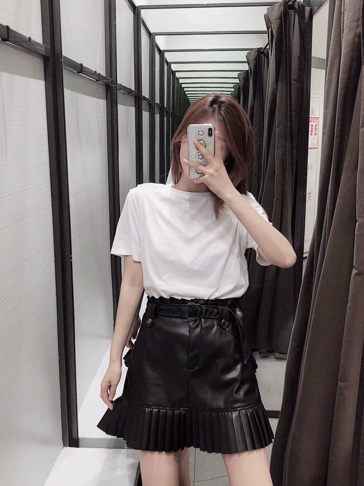Pu Leather Mini Skirt with Belt Kawaii Women Vintage High Waist Ruffles Pleated Skirts Girl Chic Cute Streetwear Party Clothing