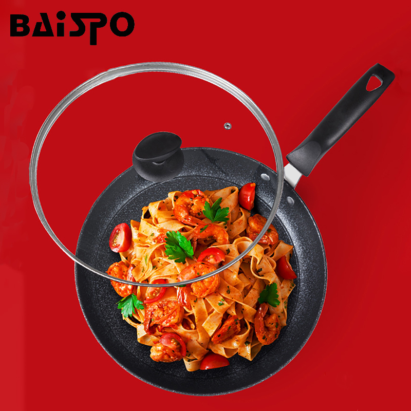 Baispo 28/30cm NonStick Frying Pan Coating 6 Layers Bottom No Oil-smoke Breakfast Grill Pan Cooking Pot Use For Gas & Induction