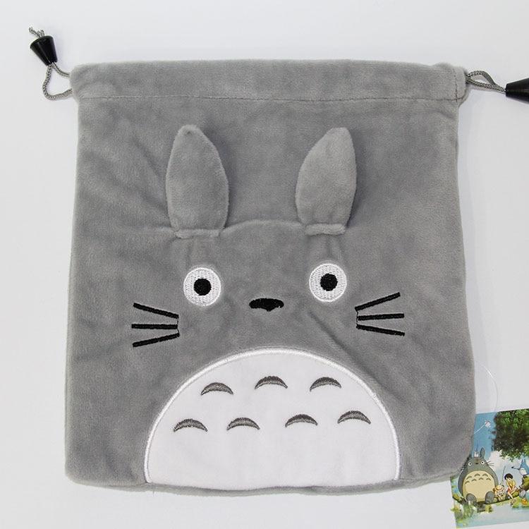 Totoro Storage Bag My Neighbor Totoro Cat Cartoon Gray Plush Soft Stuffed Animals Wallet Creative Drawstring Purse Bag 21X19cm