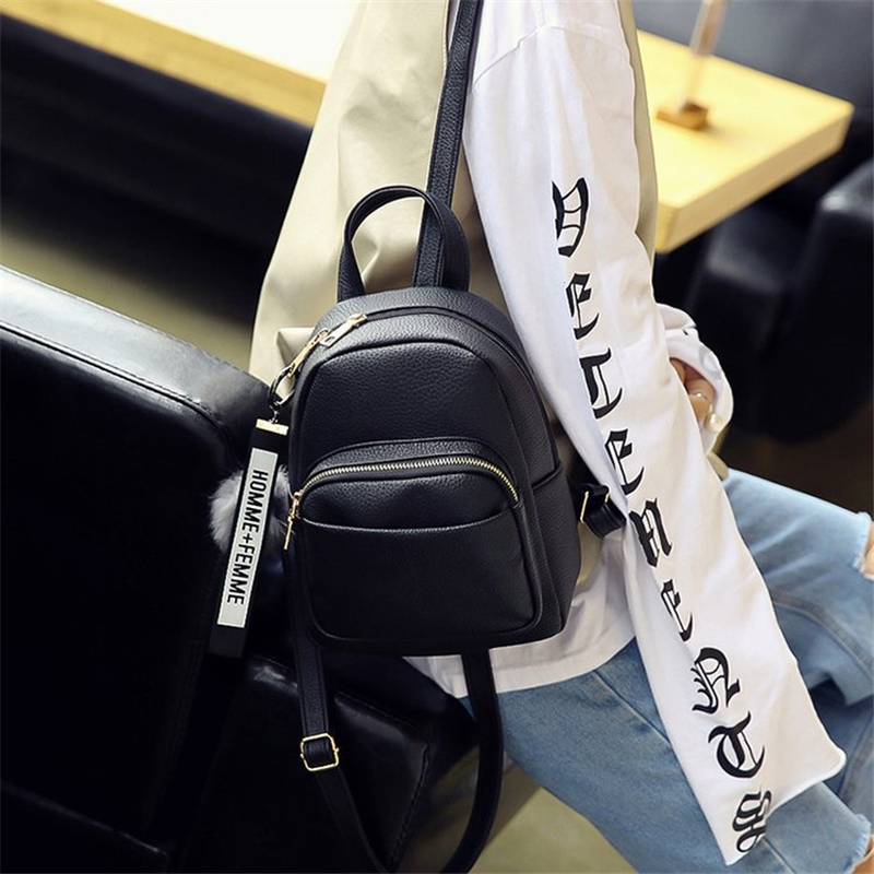 Image 5 - Miyahouse Women Soft PU Leather Mini Backpacks Students Fuzzy Ball Pendant Shoulder Schoolbags Fashion Small Travel Bags Mochila-in Backpacks from Luggage & Bags