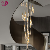 Lange moderne kristall kronleuchter für treppe luxus wohnkultur hängen cristal lampe Große villa flur led leuchte