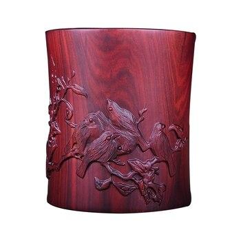 Mahogany pen holder crafts ornaments solid wood carving retro pen holder rosewood wood desk surface decoration pen holder gift