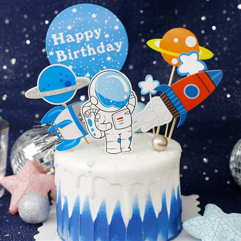 Astronaut Rocket Moon Happy Birthday Cake Toppers Airplane Balloon Cupcake Topper Dessert Decoration For Kid Birthday Gifts image