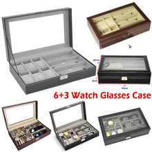 PU Leather 6 Watch&3 Eyeglasses Display Case Professional Holder Organizer for Watches Glasses Boxes best gift D25