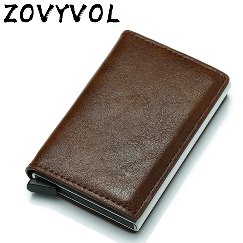 ZOVYZOL Wallet Men Money Bag Mini Purse Male Vintage Automatical Aluminium Rfid Card Holder Wallet Small Smart Wallet