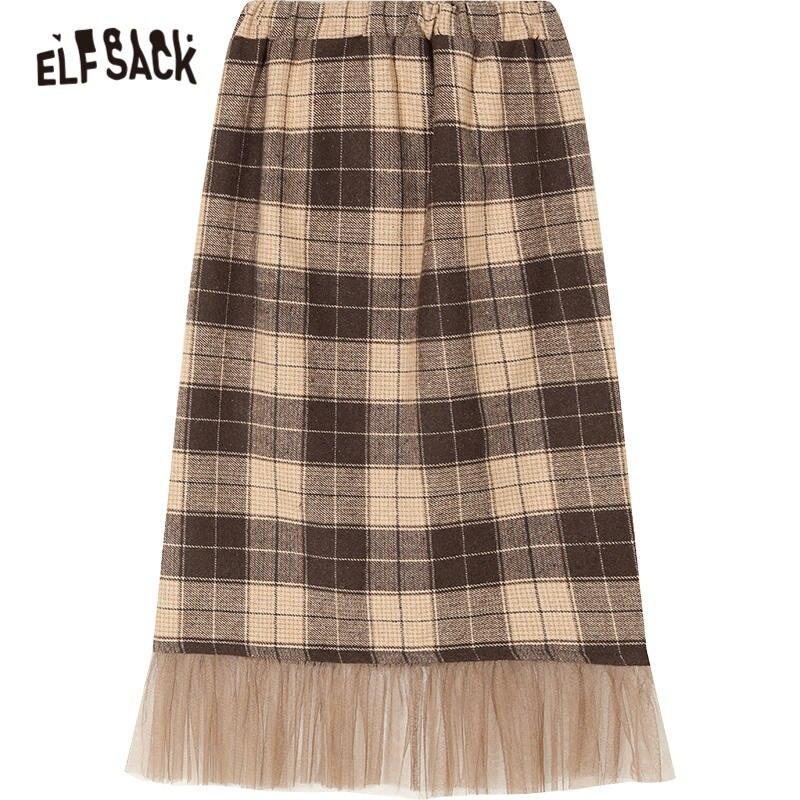 Image 5 - ELFSACK Plaid Mesh Contrast Women Long Skirts 2019 Winter New British Mid Waist Straight Office Ladies Daily SkirtSkirts   -