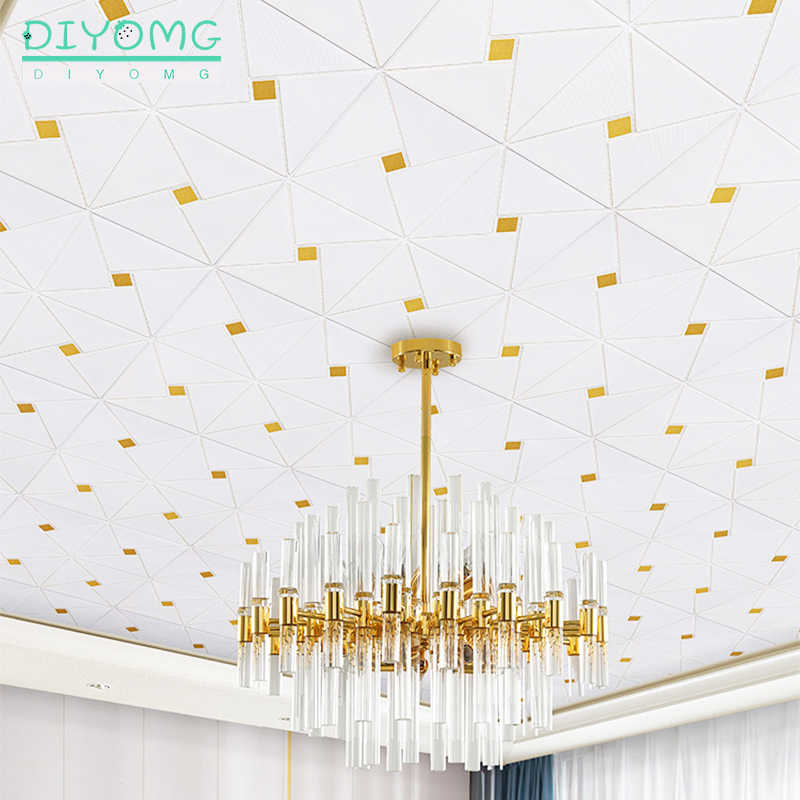 New Roof Ceiling Wallpaper Wall Stickers 3d Pvc Waterproof Self Adhesive Foam Stickers Living Room Bedroom Home Decor Decals Wallpapers Aliexpress
