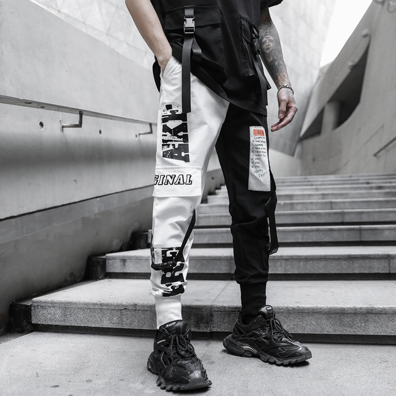 Men Multi-pocket Elastic Waist Harem Pant Men Streetwear Punk Hip Hop Casual Trousers Joggers Male Pants 2020 New Dropshipping