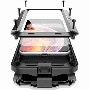 Image 1 - Armadura à prova de choque de Metal de Alumínio Caso de telefone para o iphone 11 XS Pro MAX XR X 7 8 6 6S Plus 5S 5 SE 2020 Bumper Capa de Proteção Integral
