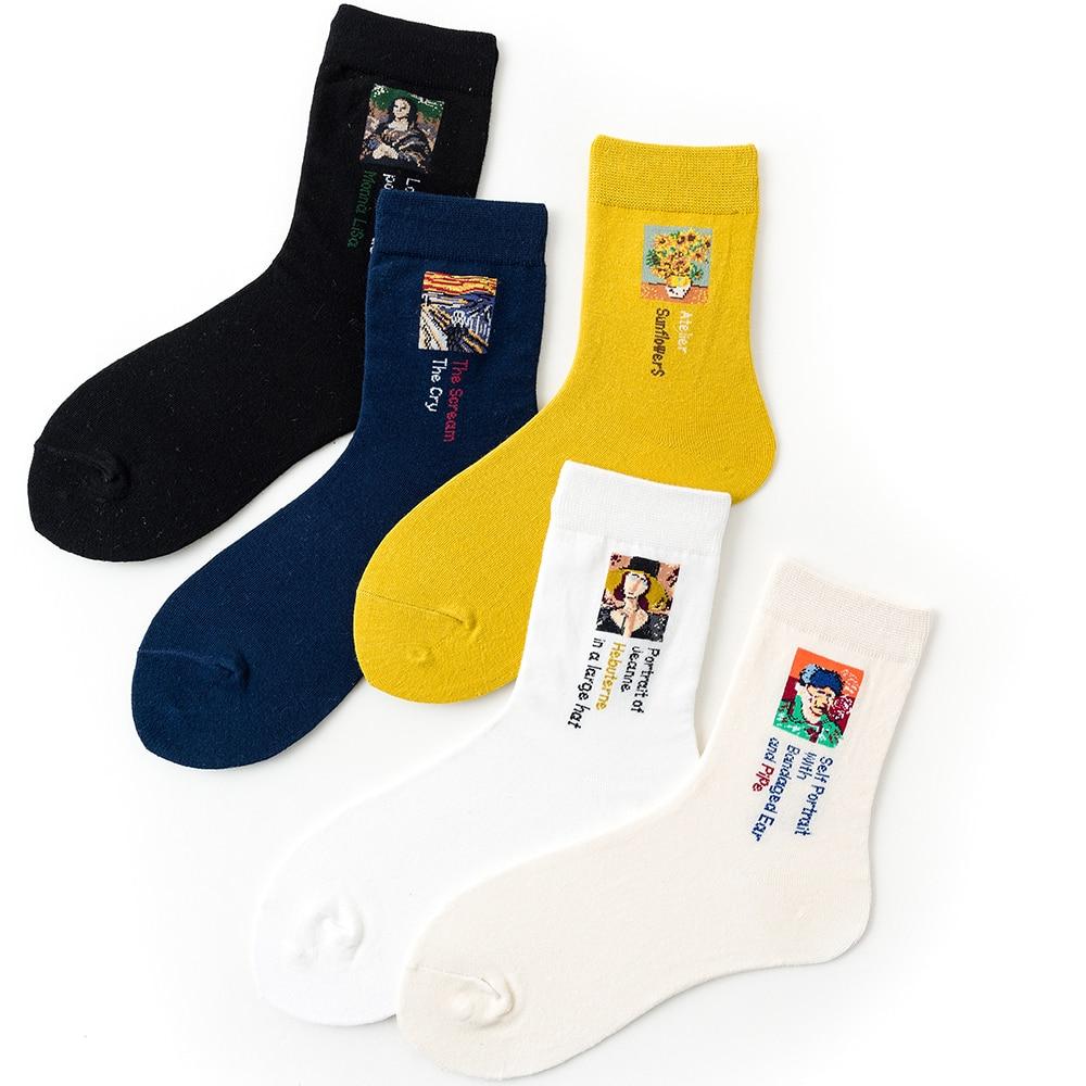 1 Pair Women Socks Cotton Portrait Female Socks Cool Art Colorful Socks 35-40EUR