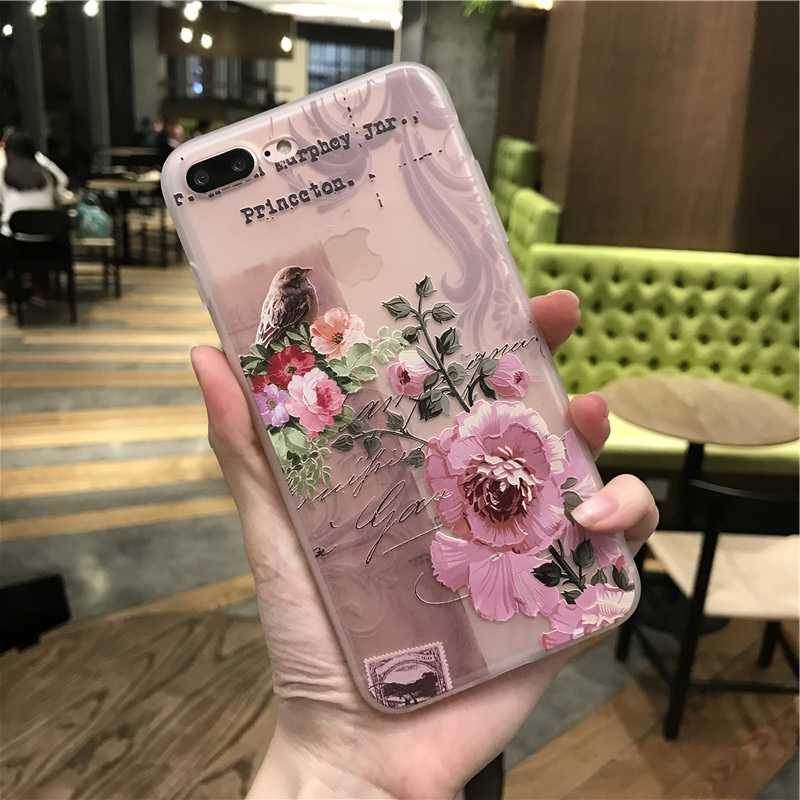 Thin soft silicone case For iphone 7 X case Luxury fashion women Cover For iPhone 6 6S Plus 7 8 Plus X XR XS Max 3D relief case