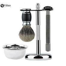 Professional 4 In 1 Stainless Steel Razor Set Men Beard Razor Shaving Brush Bowl Stand Holder Wet Shaving Luxury Razor Set Gift
