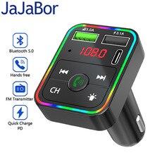 JaJaBor บลูทูธ5.0เครื่องส่งสัญญาณ FM รถชุด MP3ไร้สายแฮนด์ฟรีเครื่องรับสัญญาณเสียง Dual USB Fast Charger รถอุปกรณ์เสริม