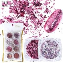 1Set Aluminium Rose Gold Pailletten Nail art Glitter Flake Pulver UV Gel Polnischen Nail Paillette Mix Dekoration Maniküre CH1506 05
