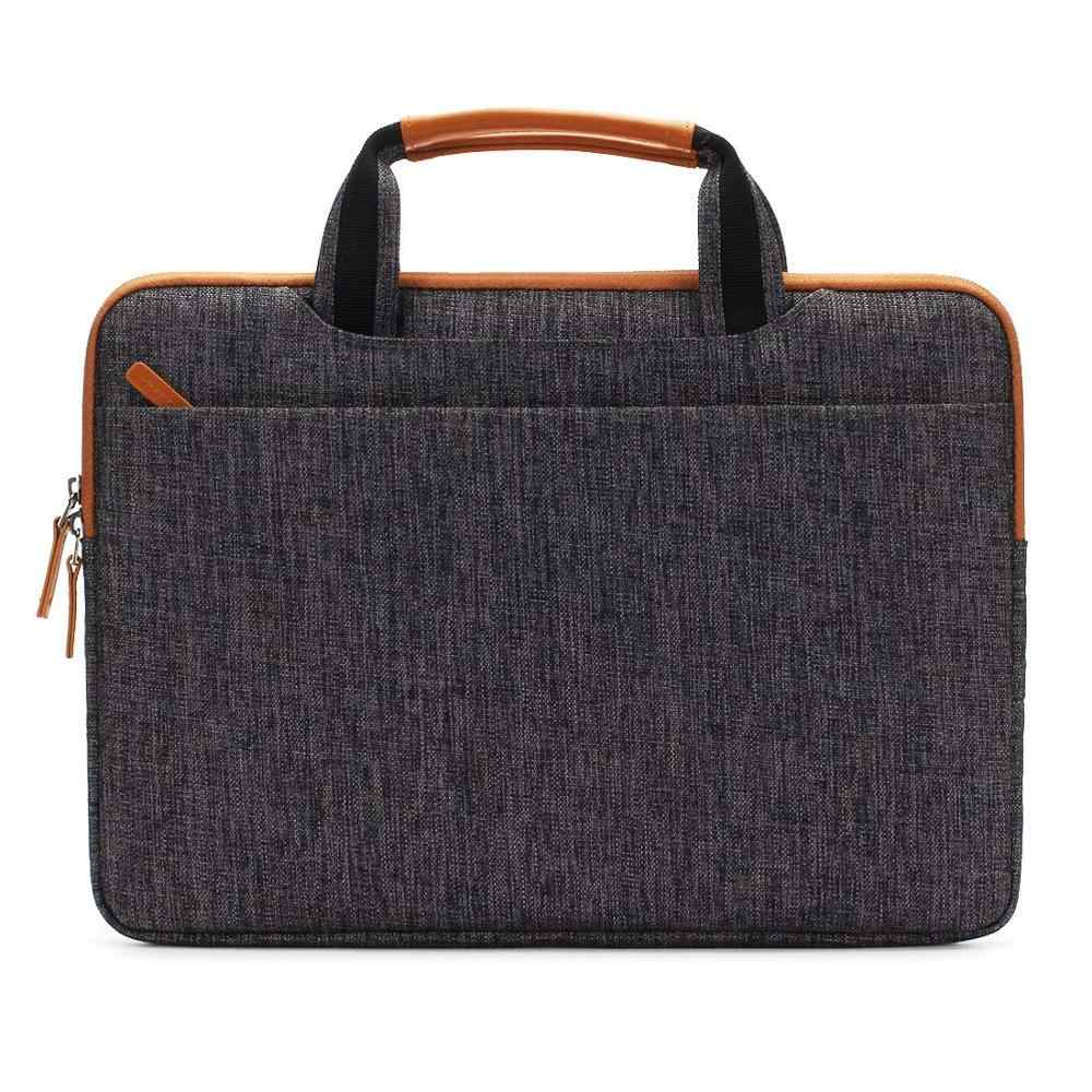DOMISO10 13 14 15.6 17.3 بوصة متعددة الوظائف حقيبة لاب توب حقيبة أعمال حقيبة ساعي مع منفذ شحن USB بني رمادي