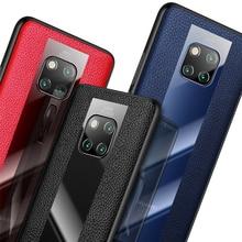 יוקרה אמיתי עור מקרה עבור Huawei Mate 20 RS פורשה עיצוב/20/פרו/X 20X5G ברור אקריליק רך TPU מסגרת כיסוי אחורי מקרה