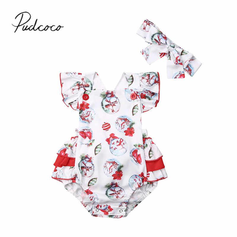 2019 г. Летняя одежда для малышей Рождественский комбинезон без рукавов с оборками для маленьких девочек комплект из 2 предметов одежда Санта Снеговик олень