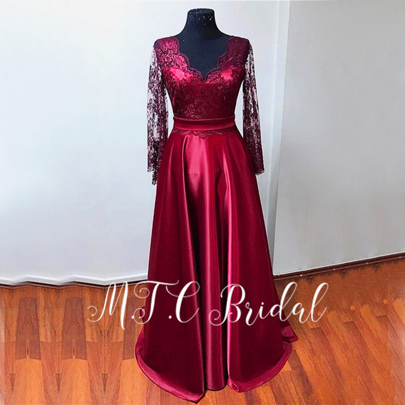 Long Sleeve Burgundy Evening Dress Real Photos 2019 V Neck A Line Backless Formal Occasion Women Dresses Vestido De Festa Cheap