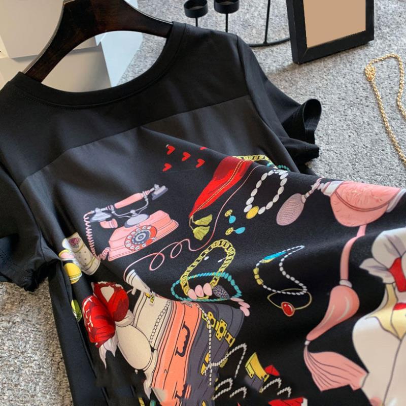 Жаркое лето темпераментные новые женские размера плюс, модная свободная футболка с короткими рукавами черного цвета с вышивкой и принтом в ...