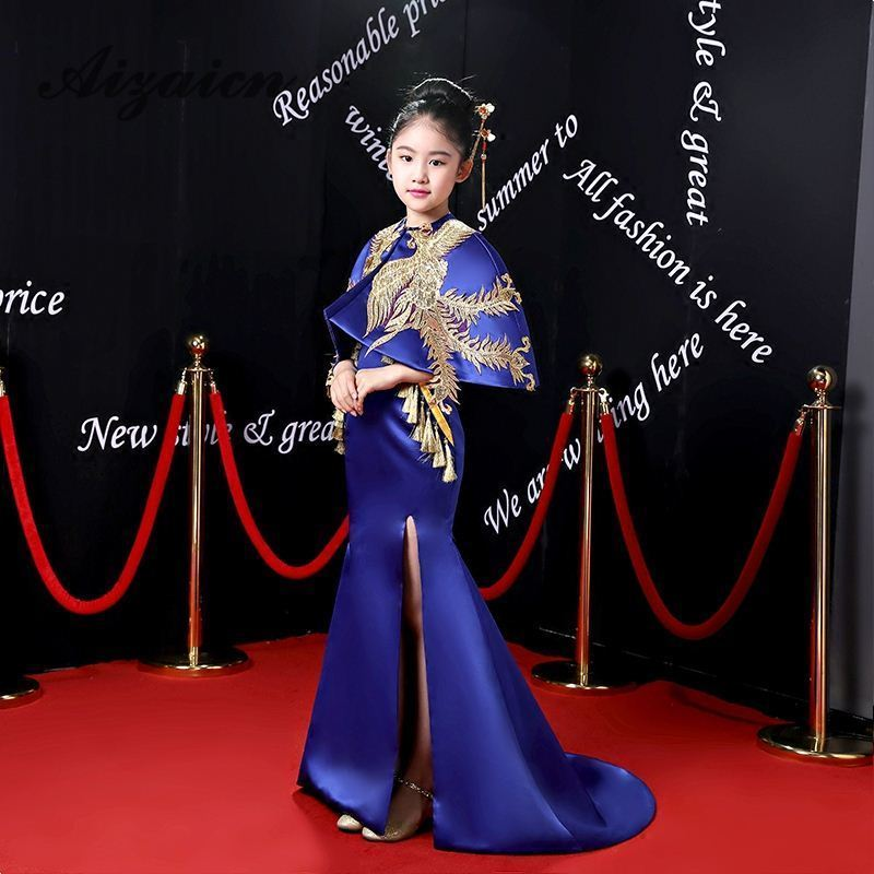 Girls Royal Blue Mermaid Evening Dress With Shawl 2018 New Trailing Catwalk Chinese Style Golden Embroidery Children Cheongsam