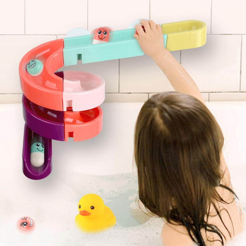 QWZ New DIY Baby Bath Toys Wall Suction Cup Marble Race Run Track Bathroom Bathtub Kids Play Water Games Toy Set For Children