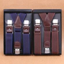 Suspenders Braces Men's Belt-Strap Business Vintage with 3-Snap-Hooks Clip-On for Adjustable