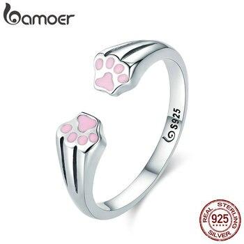 BAMOER nueva colección 100% Plata de Ley 925 Animal mascota perro gato huellas dedo anillo para mujeres compromiso joyería SCR366