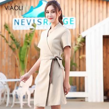 Summer Latest Design SPA Clothing Beauty Salon Work Uniforms Hospital  Beautician clothing V Neck Short Sleeve Nurse
