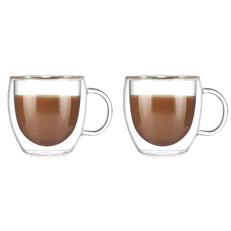 2 pçs/lote dupla camada copo de café de vidro de qualidade superior canecas DDC-26