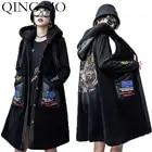 Qing mo preto mulheres com capuz colete 2019 feminino pu retalhos casaco sem mangas colete feminino animal colete zqy2134