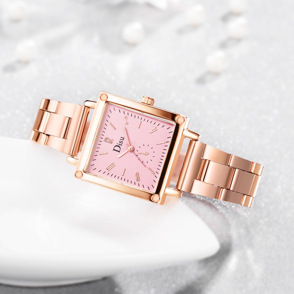 New Women Watches Simple Square Dial Ladies Luxury Fashion Quartz Wristwatch Rose Gold Alloy Strap Clock Casual Reloj Mujer 2019