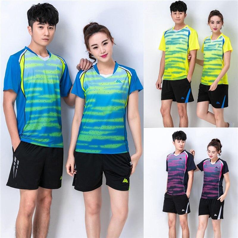 Esportivas de Badminton Tênis de Mesa Camisas de Tênis Camisetas de Ping Camisas Respirável Uniformes Manga Curta Camiseta Pong Jérsei 6901 Kit
