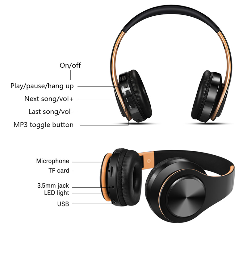 Foto of structure Wireless foldable headphones with mic. Foldable wireless earphones for mp3