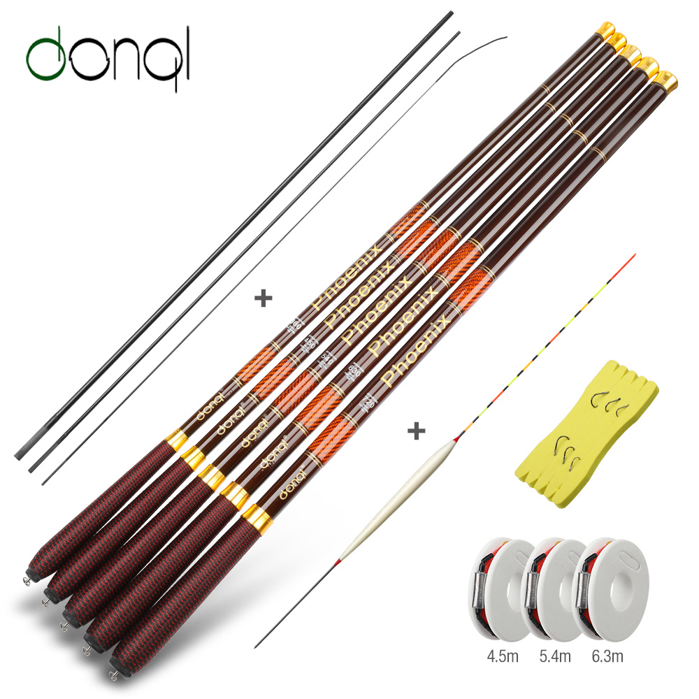 DONQL Carbon Fiber Stream Telescopic Fishing Rod 3.6-7.2m Ultra-light Carp Feeder Rod Portable Hand Pole Fishing Tackle