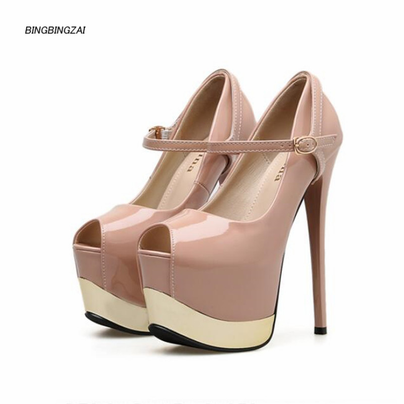 BBZAI New pattern Superior quality Super <font><b>high</b></font> <font><b>heel</b></font> ladies shoes <font><b>17CM</b></font> Thin <font><b>Heels</b></font> <font><b>sexy</b></font> Nightclub Waterproof 6CM 35-39-40 image