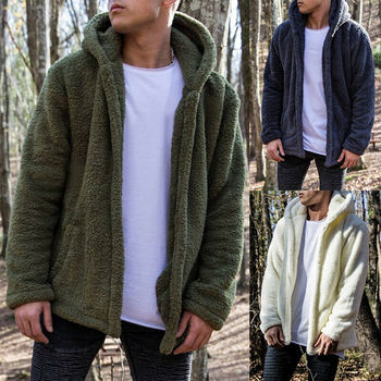 Winter Men Teddy Bear Oversized Coat Borg Cardigan Faux Fur Fleece Jacket Size M-2XL image