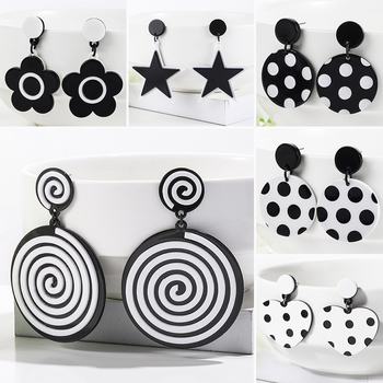 WYBU Newest 13 Styles ECO-Friendly Acetat Black White Round Drop Earring For Women Dpuble Layer Triangle Square Earring Gift BTF 1