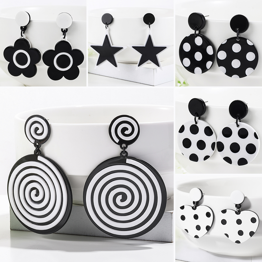 WYBU Newest 13 Styles ECO-Friendly Acetat Black White Round Drop Earring For Women Dpuble Layer Triangle Square Earring Gift BTF