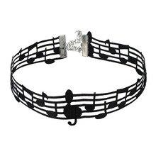 Moda música personal gargantilla collar Simple Color negro gargantilla Collar para mujeres chica fiesta regalos joyería