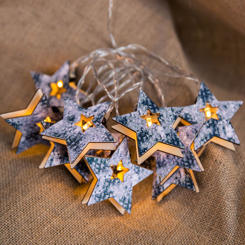Marble Texture Wood Star Snowflower Battery USB String Lights 3M Guirlande Led Noel Decor For Christmas Garland On The Window