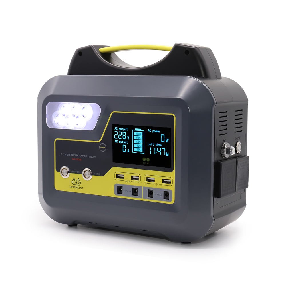 BOSSCAT AY-006 500W Outdoor Portable Power Station Power Bank Generator UPS With AC DC USB Output Detachable Battery