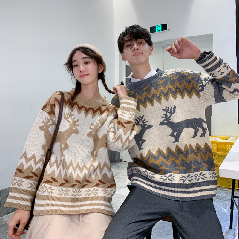 2019 Autumn And Winter New Ins Super Fire Sweater Men Lovers Wear Wild Korean Loose Long Sleeves Chinese Style Animal
