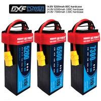 2 pces dxf power lipo bateria 4S 14.8v 5200mah 80c/4S 6500mah 100c/4S 7300mah 130c hardcase para rc carro barco zangão robô fpv caminhão